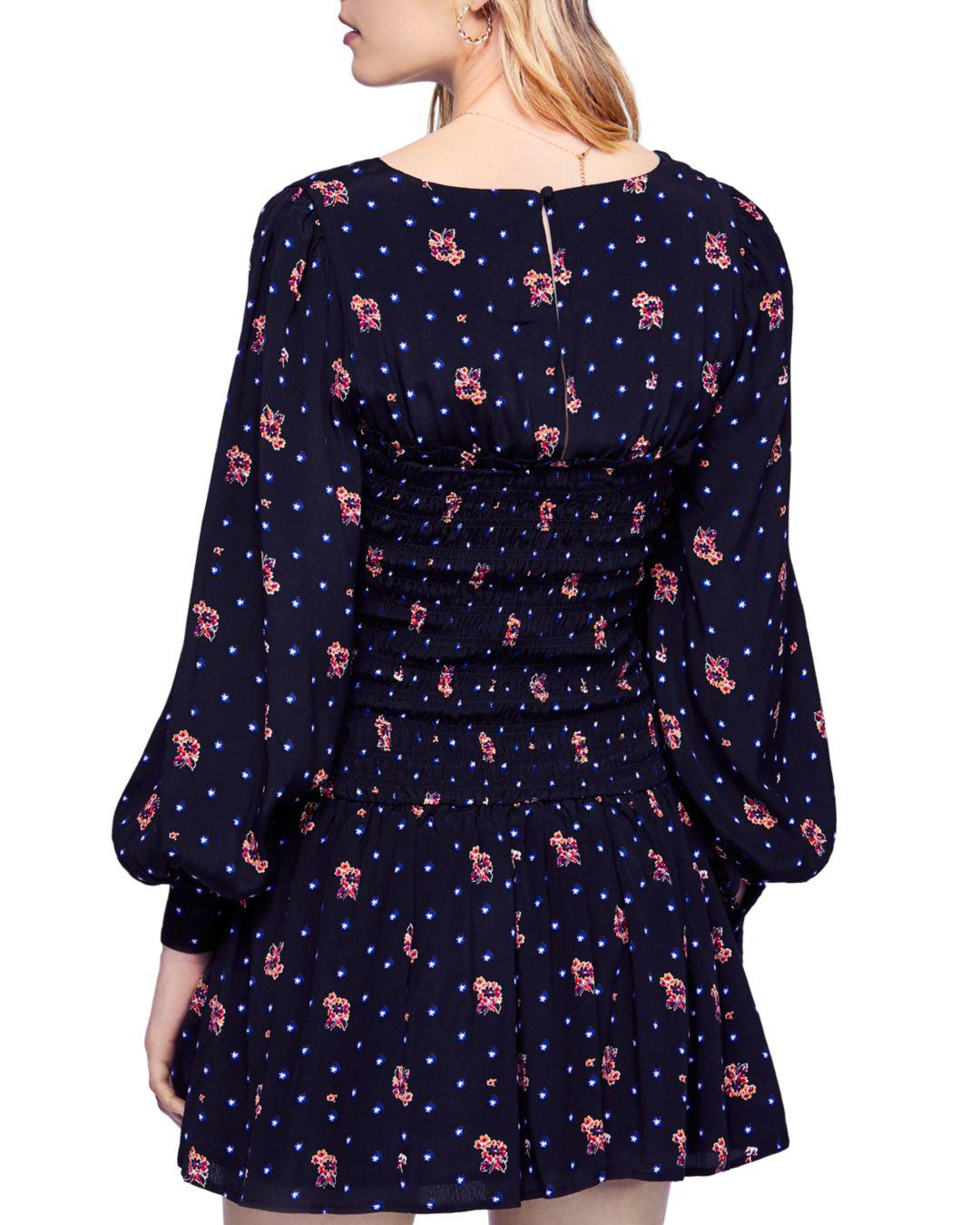 Free People Two Faces Smocked Dress in Black - Lyst