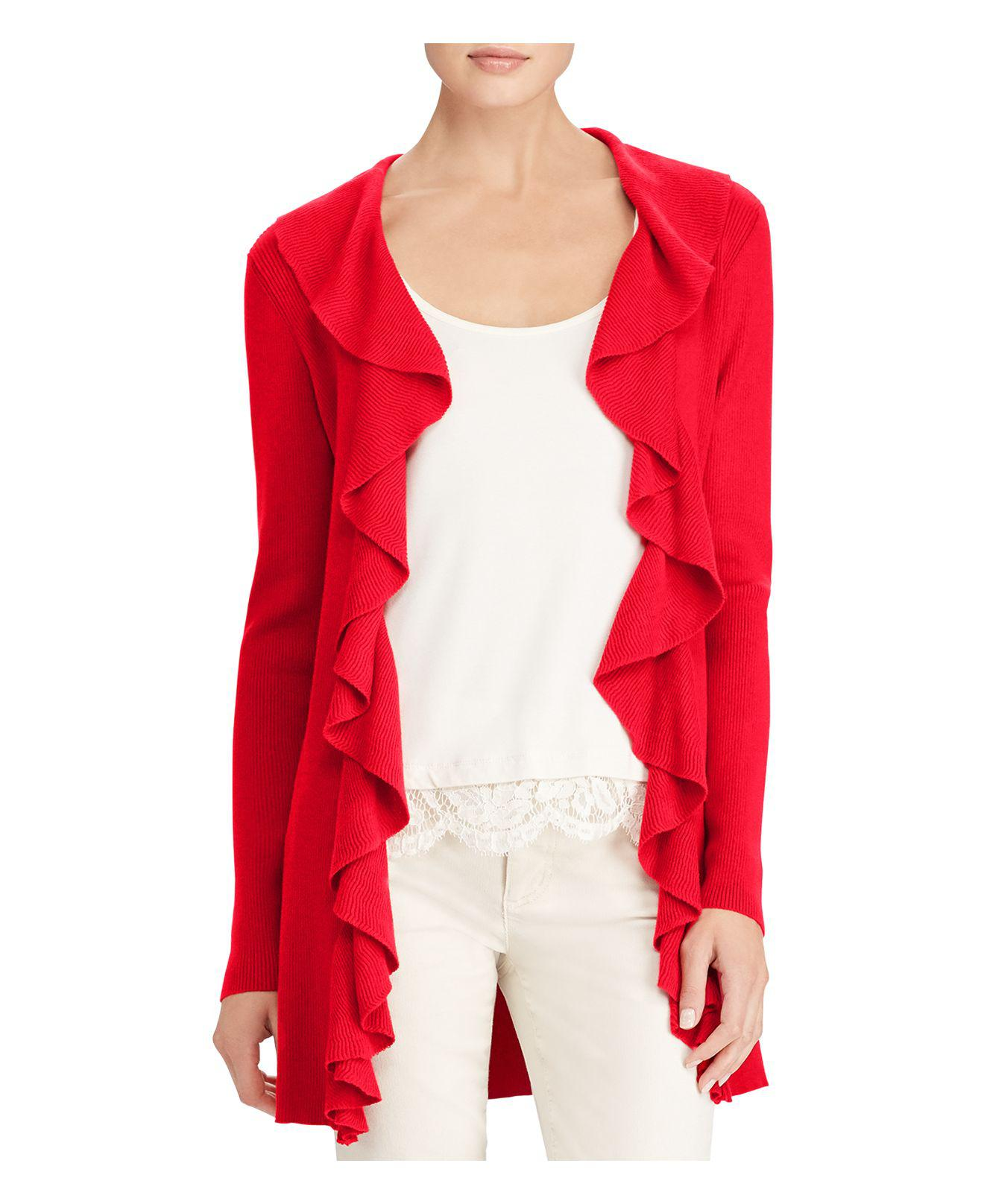 Ralph lauren Lauren Ruffle Open Front Duster Cardigan in Red | Lyst