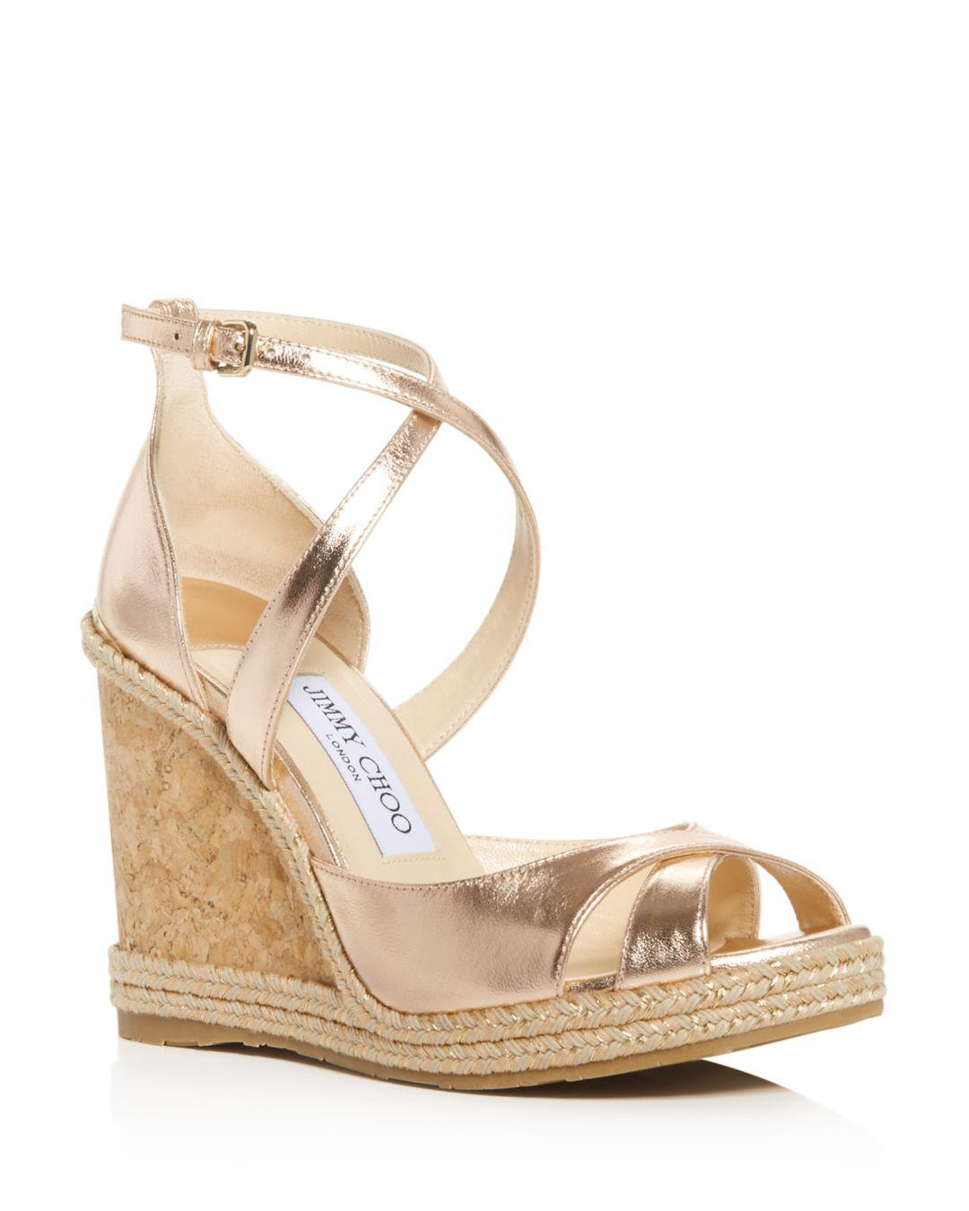 d07b249d05d Lyst - Jimmy Choo Women's Alanah 105 Crisscross Wedge Sandals