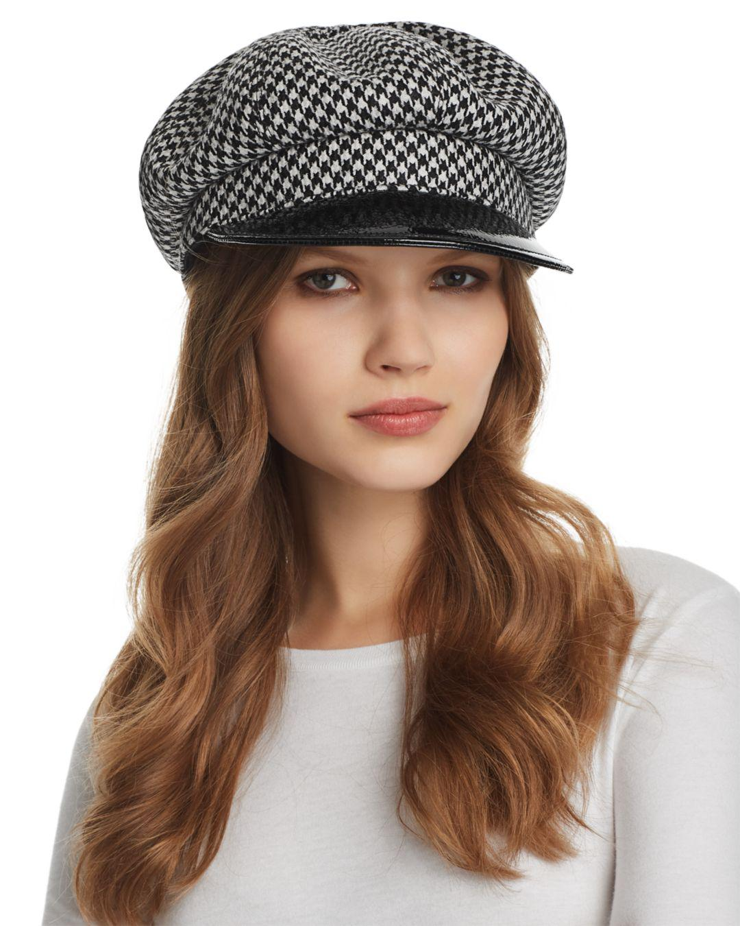 9f26a937350a4 Eric Javits Carnaby Houndstooth Newsboy Cap in Black - Lyst