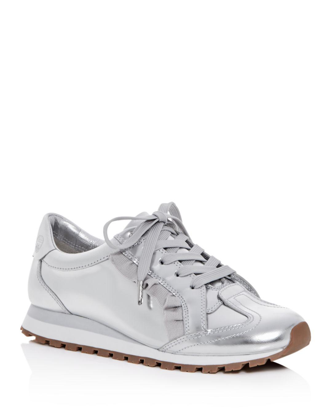 4b578e26928 Lyst - Tory Sport Women s Ruffle Trainer Leather Lace Up Sneakers in ...
