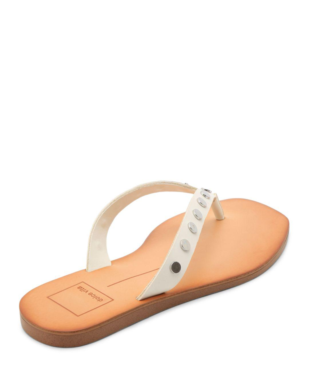 6c57667fa12 Lyst - Dolce Vita Women s Clyde Studded Thong Sandals in White