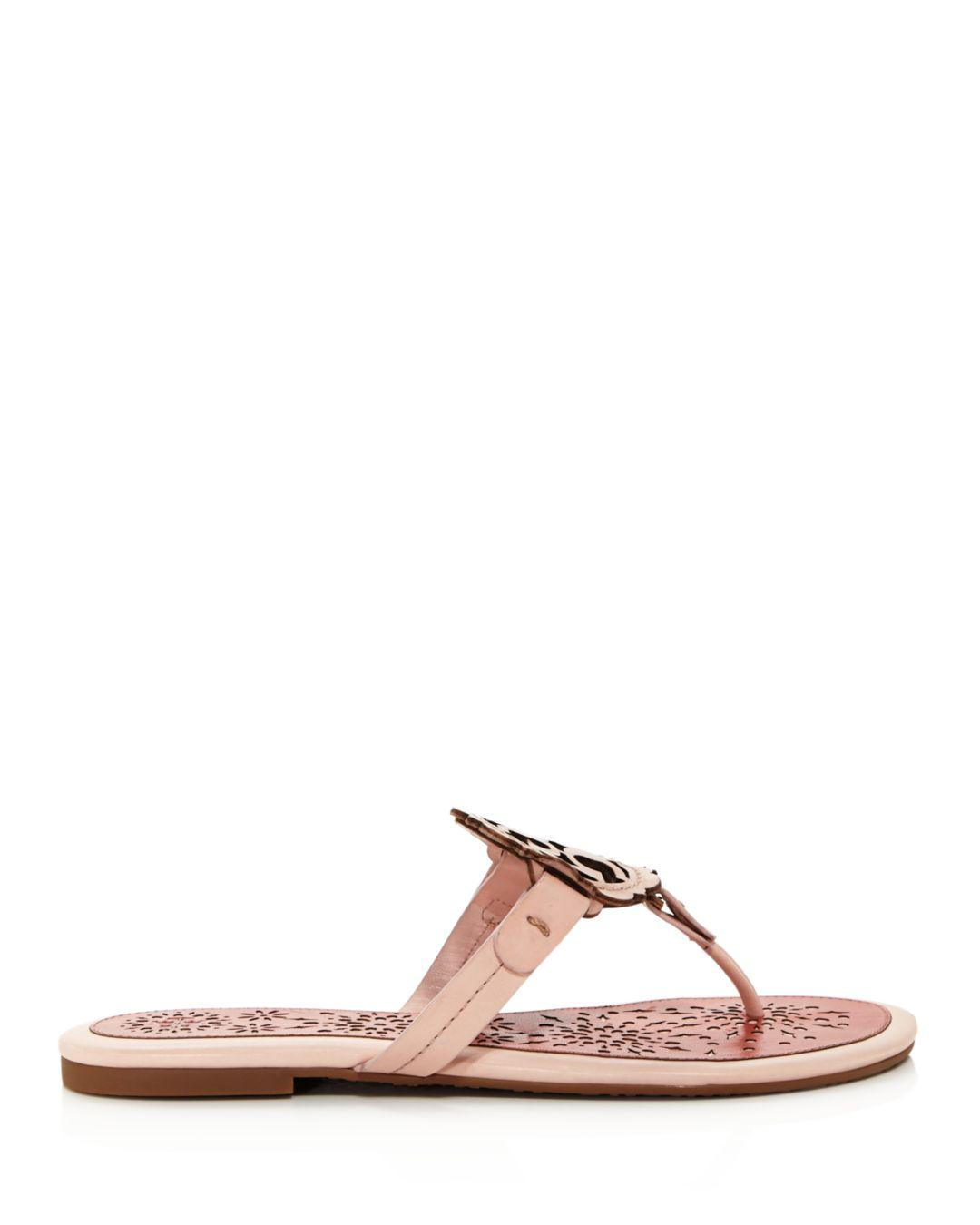 f858320e7 Lyst - Tory Burch Women s Miller Scallop Leather Thong Sandals in Pink -  Save 30%