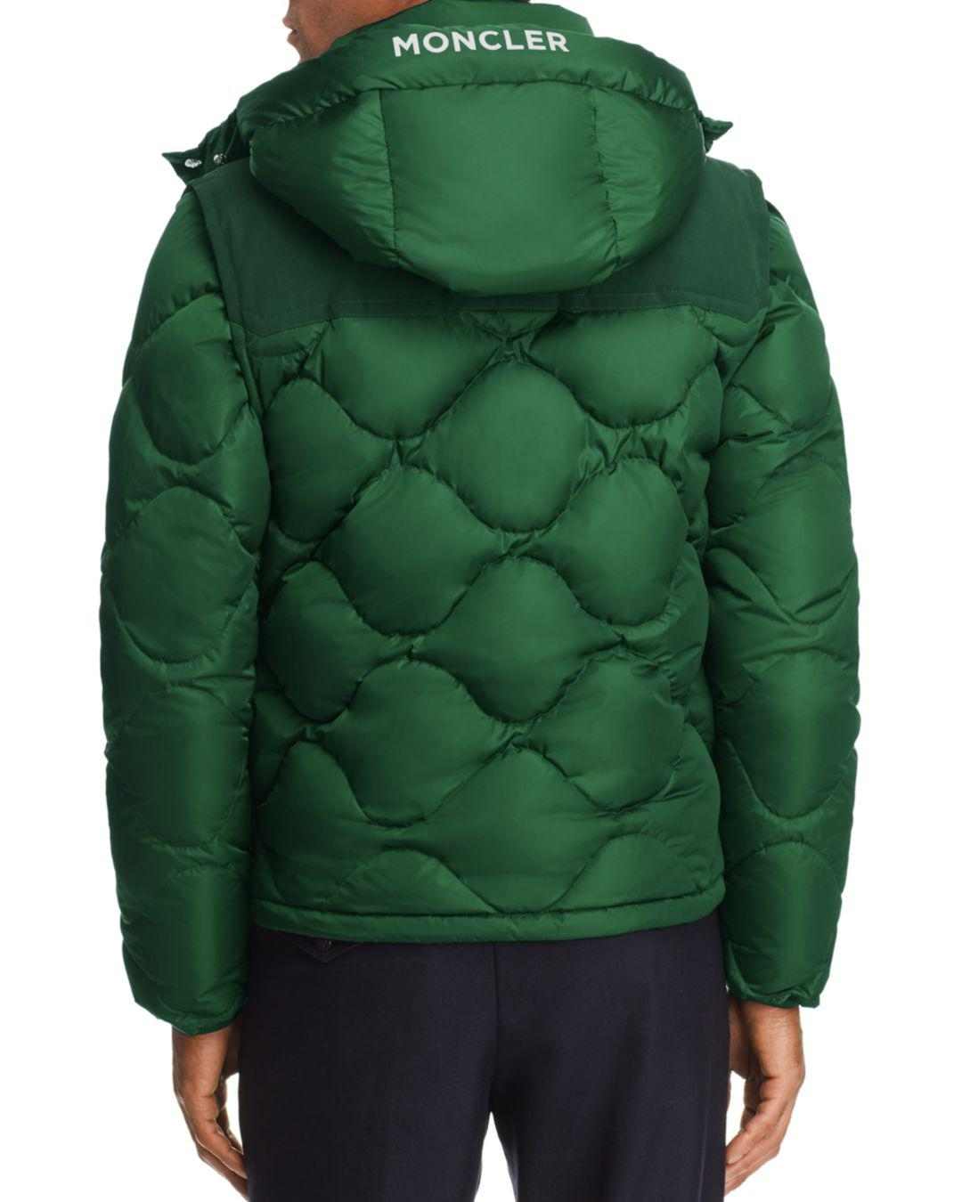 d2e78bd38e discount lyst moncler arles hooded diamond quilted convertible down jacket  in green for men 05186 55eae