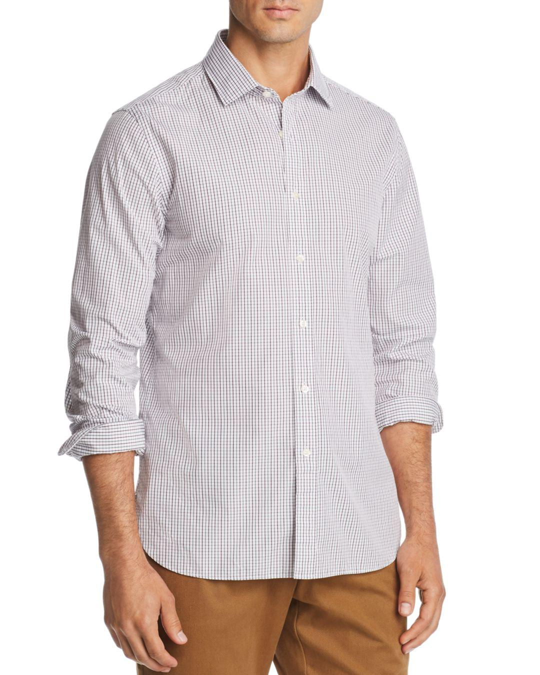 Bloomingdales Grid Print Broadcloth Slim Fit Shirt For Men Lyst