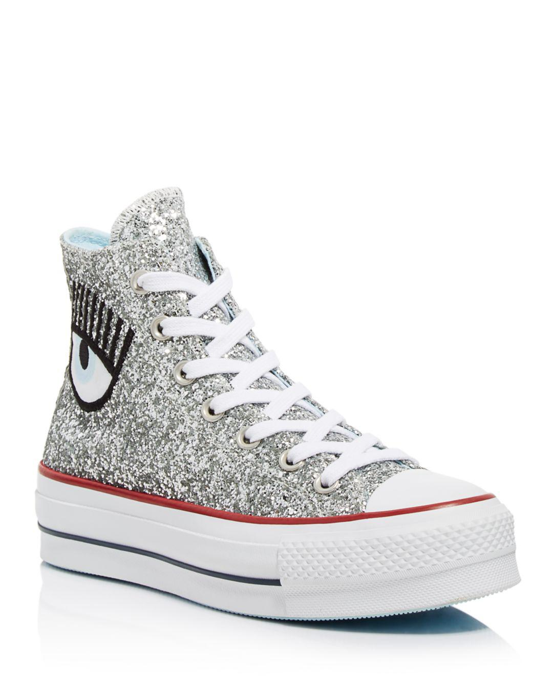 7a4bef16242fa3 Lyst - Converse All Star Lift Hi Trainers in Metallic - Save 10%