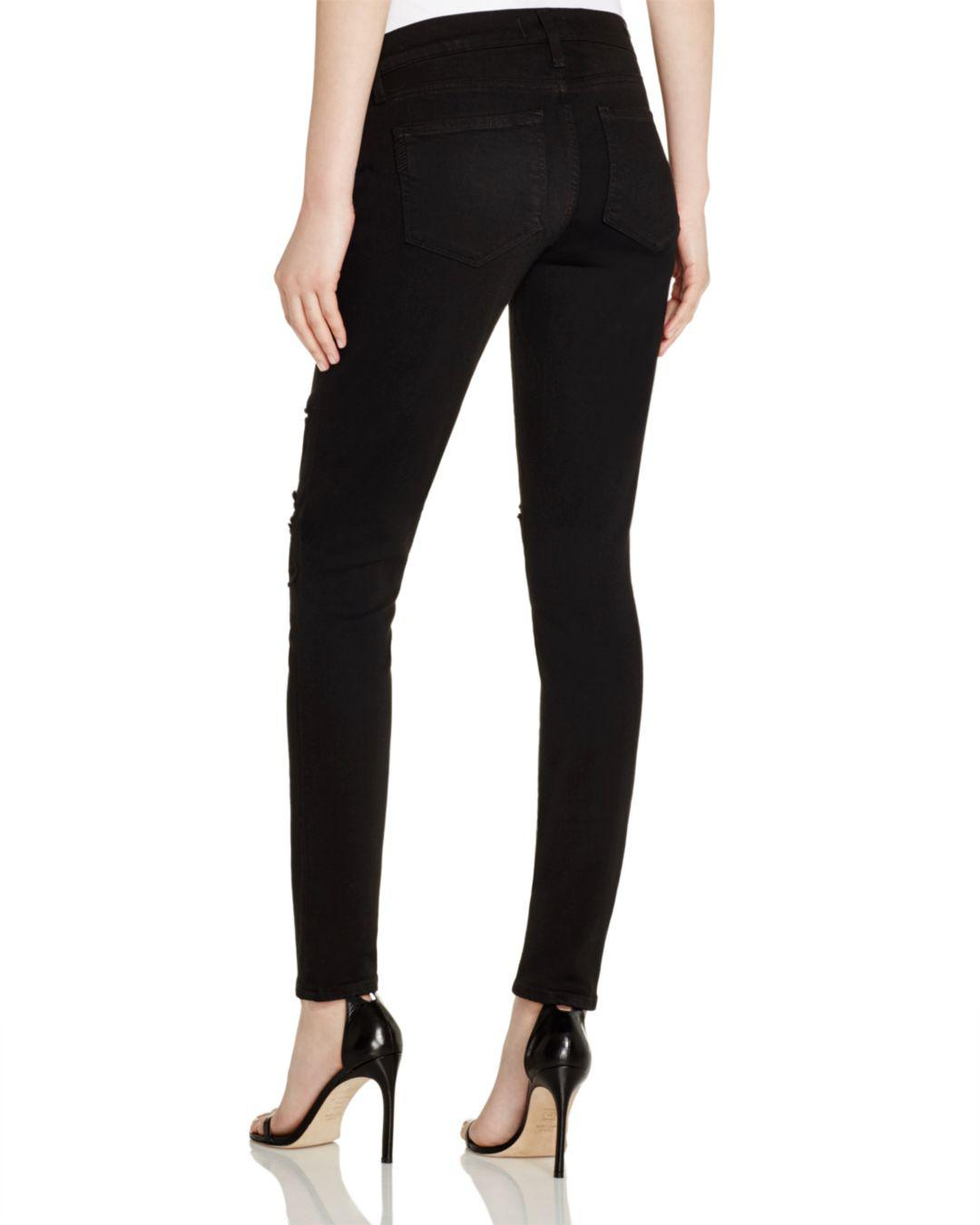2e5a101722b3a Lyst - PAIGE Denim Verdugo Skinny Maternity Jeans In Black Shadow  Destructed in Black