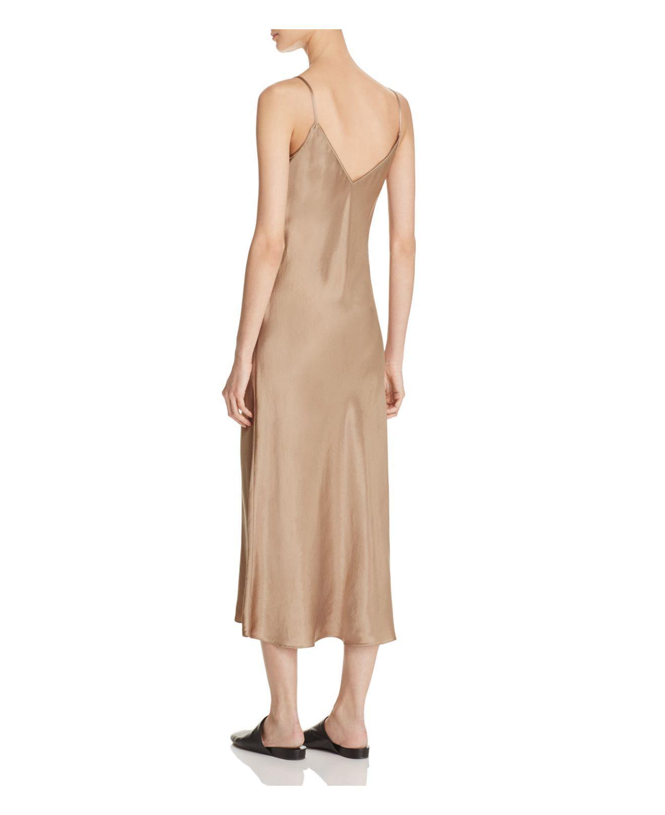Lyst Vince Satin Slip Dress In Natural