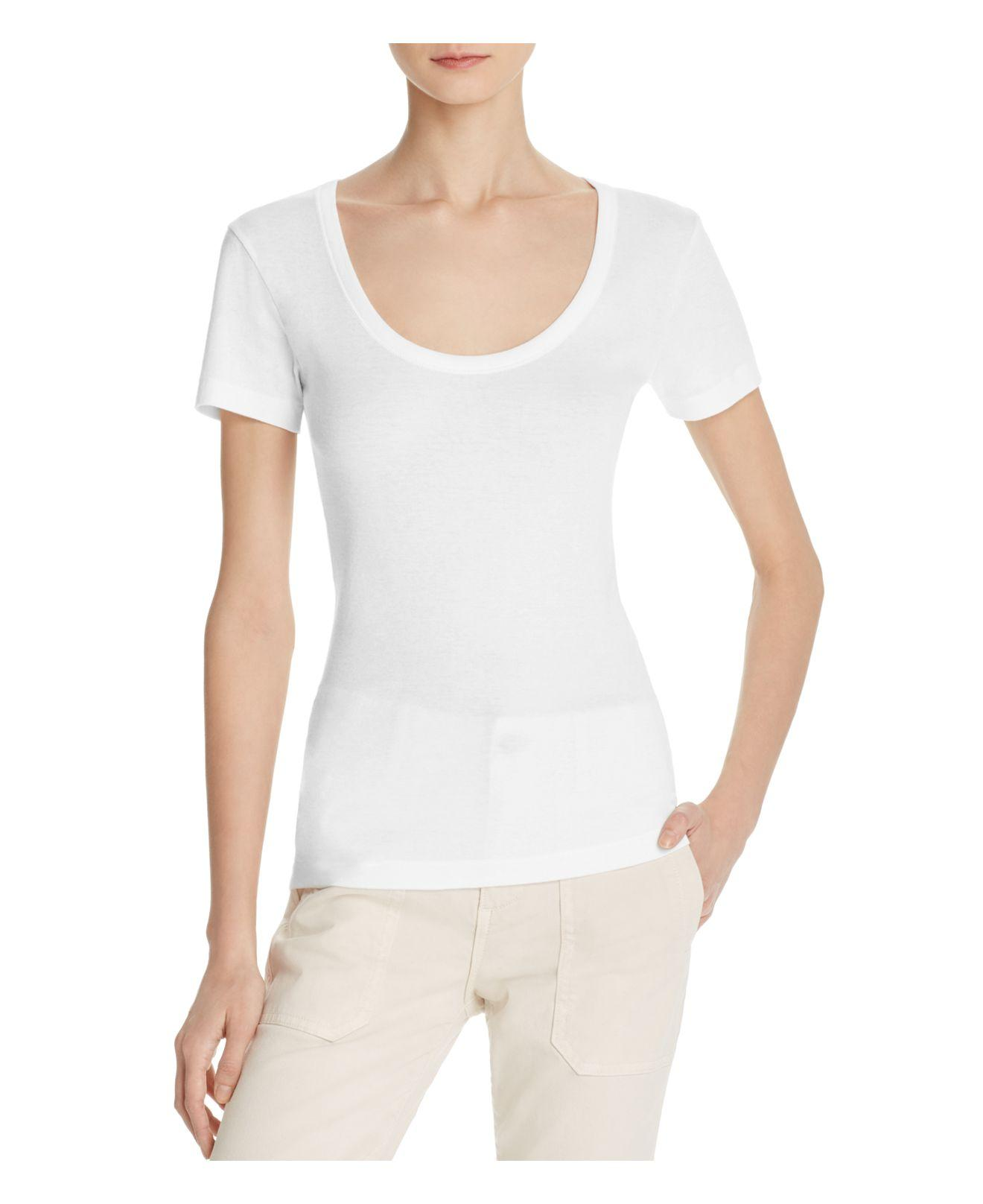 Lyst Vince Scoop Neck Tee In White