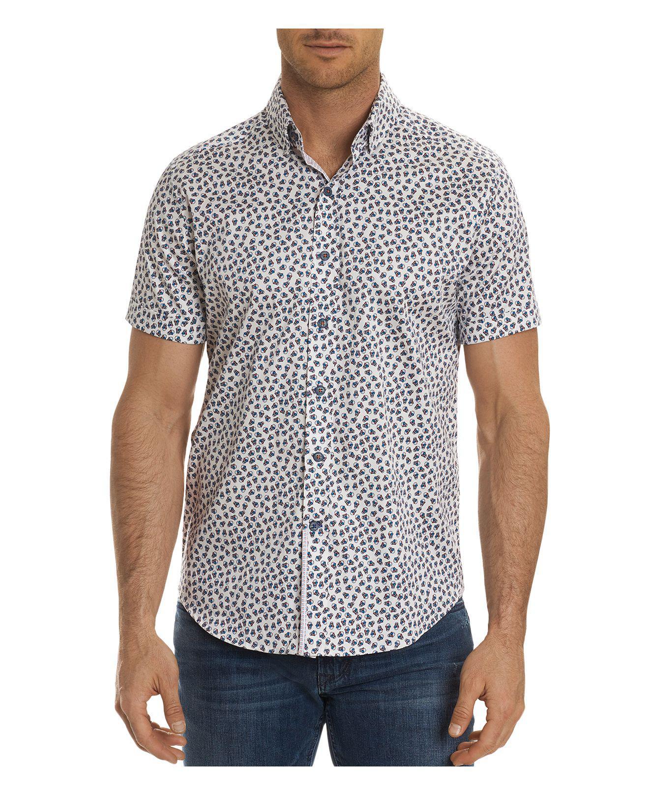 Robert graham anders aviator skull short sleeve button for White short sleeve button down shirts for men