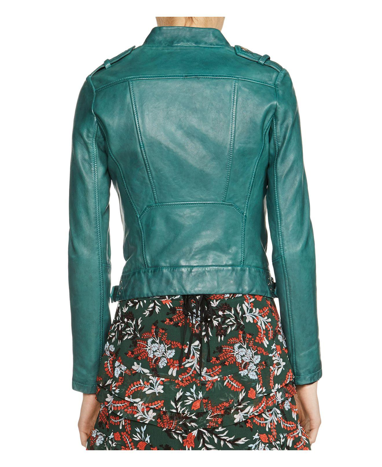 Lyst Maje Bassou Leather Jacket In Green