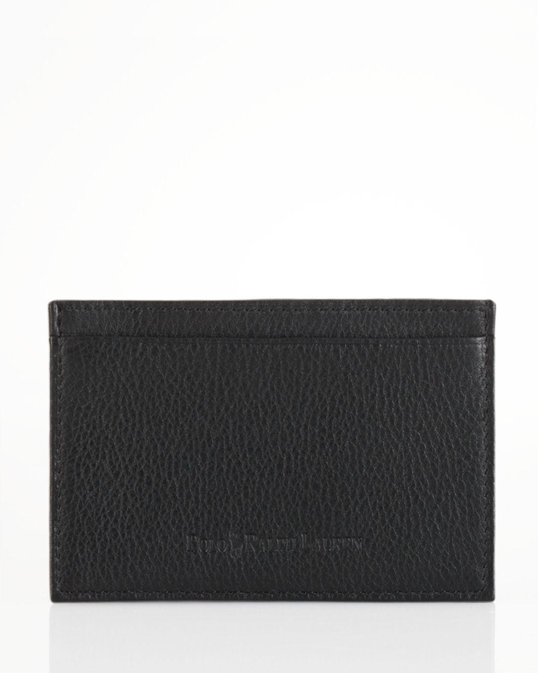fc1542a1ef Lyst - Polo Ralph Lauren Pebbled Leather Slim Card Case in Black for Men