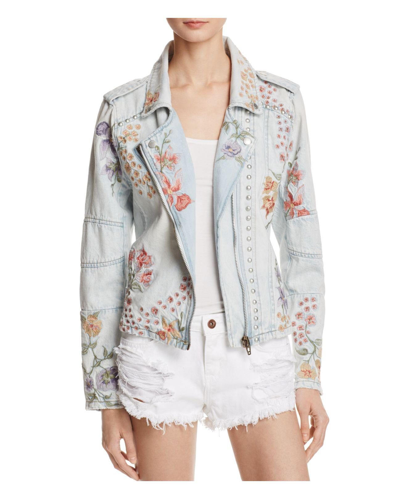 Blank Nyc Floral Embroidered Denim Moto Jacket In Blue  Lyst