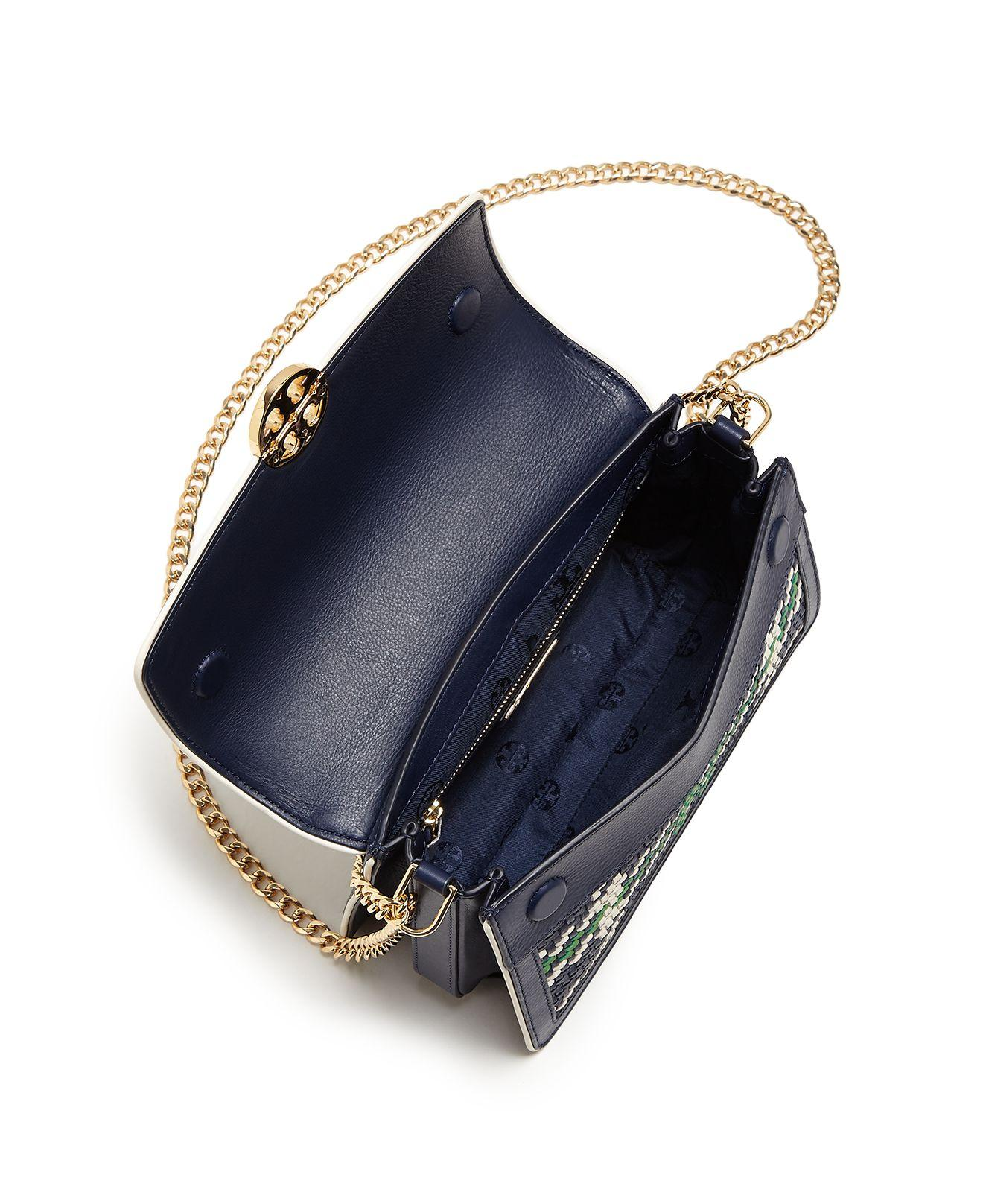 6bffaa8688c Lyst - Tory Burch Duet Chain Convertible Woven Leather Shoulder Bag ...