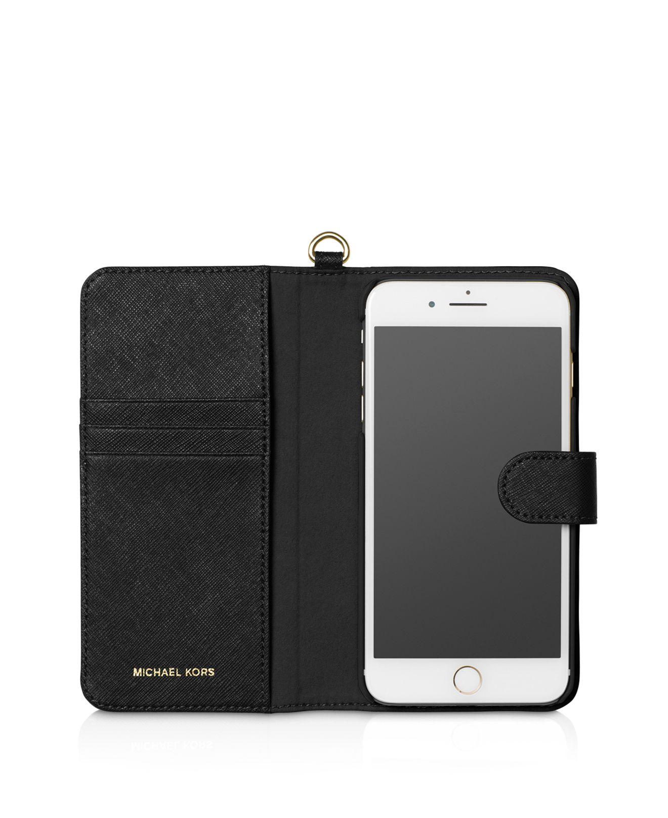 michael kors iphone case lyst michael michael kors saffiano leather folio iphone 3080