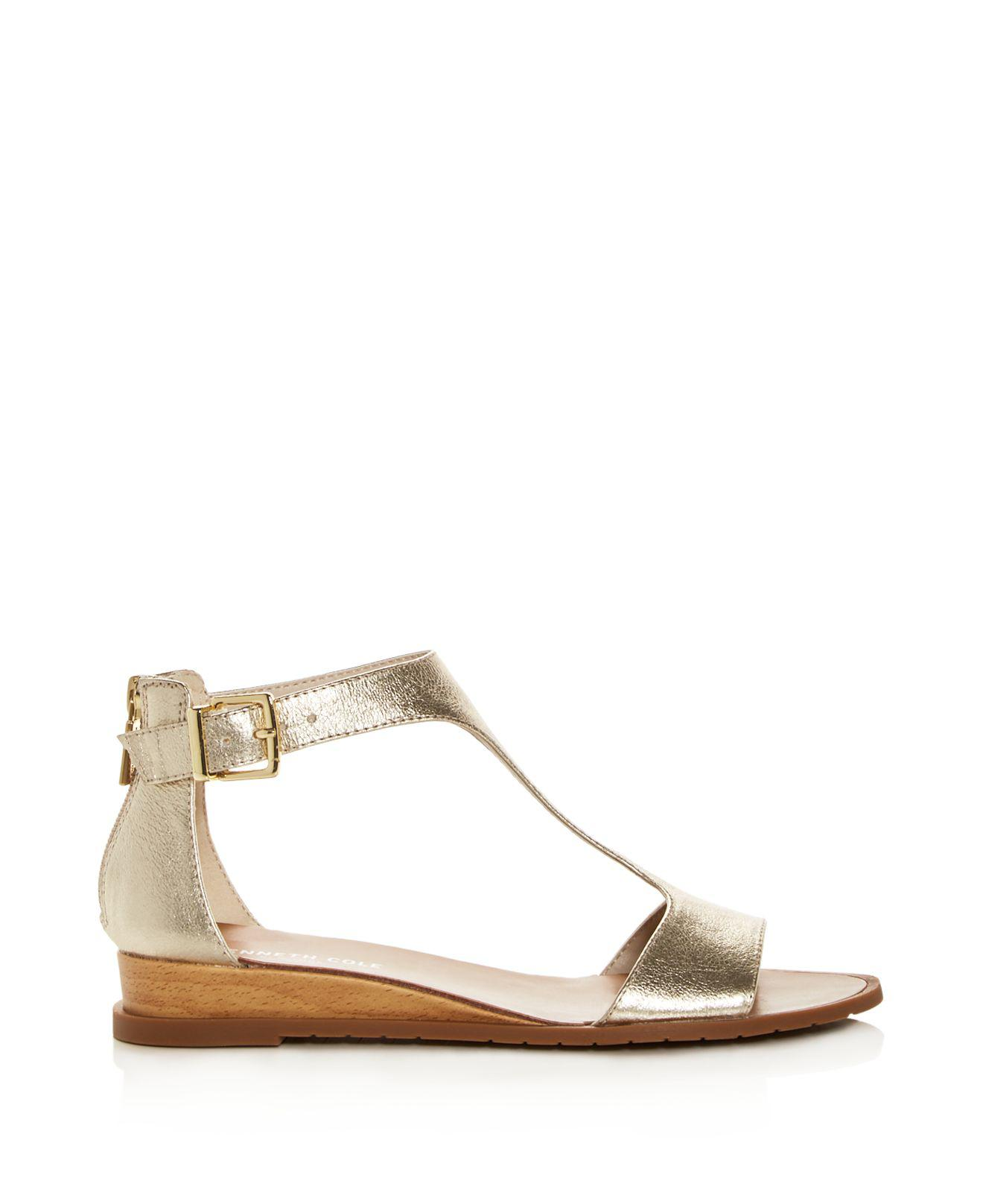 Kenneth Cole Women's Judd Leather T-Strap Demi Wedge Sandals aaGLfPdrH
