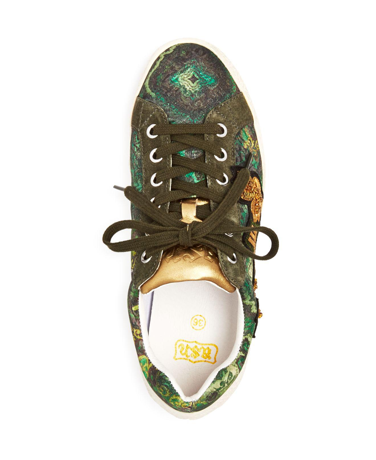 embellished lace-up sneakers - Green Ash f9JHr8FAjt