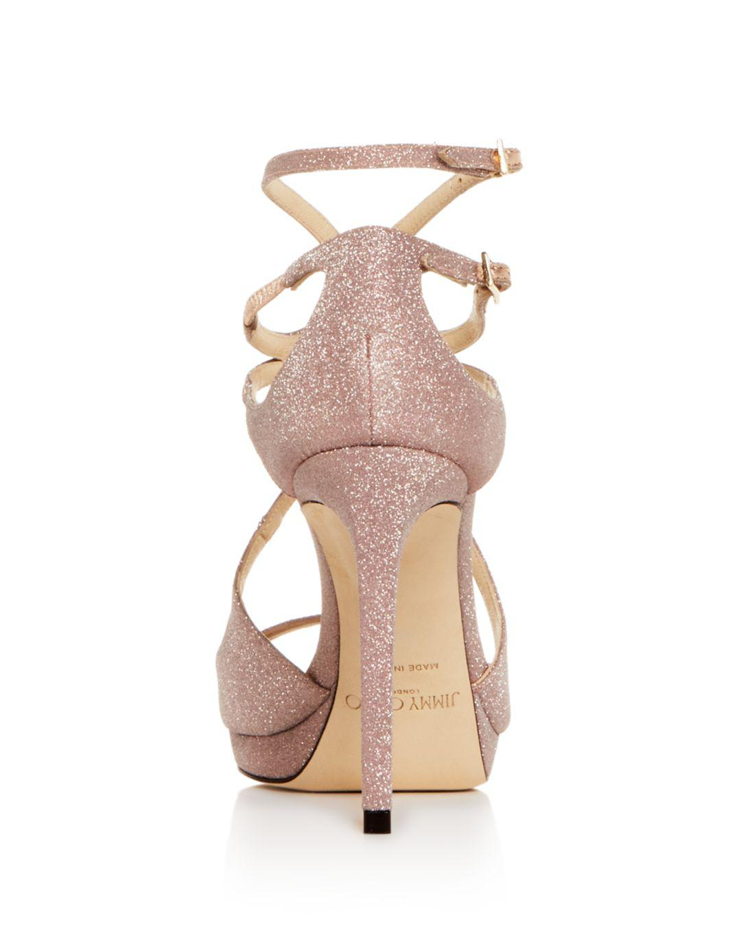 66493601e6f7 Jimmy Choo - Pink Metallic Slingback Sandals - Lyst. View fullscreen
