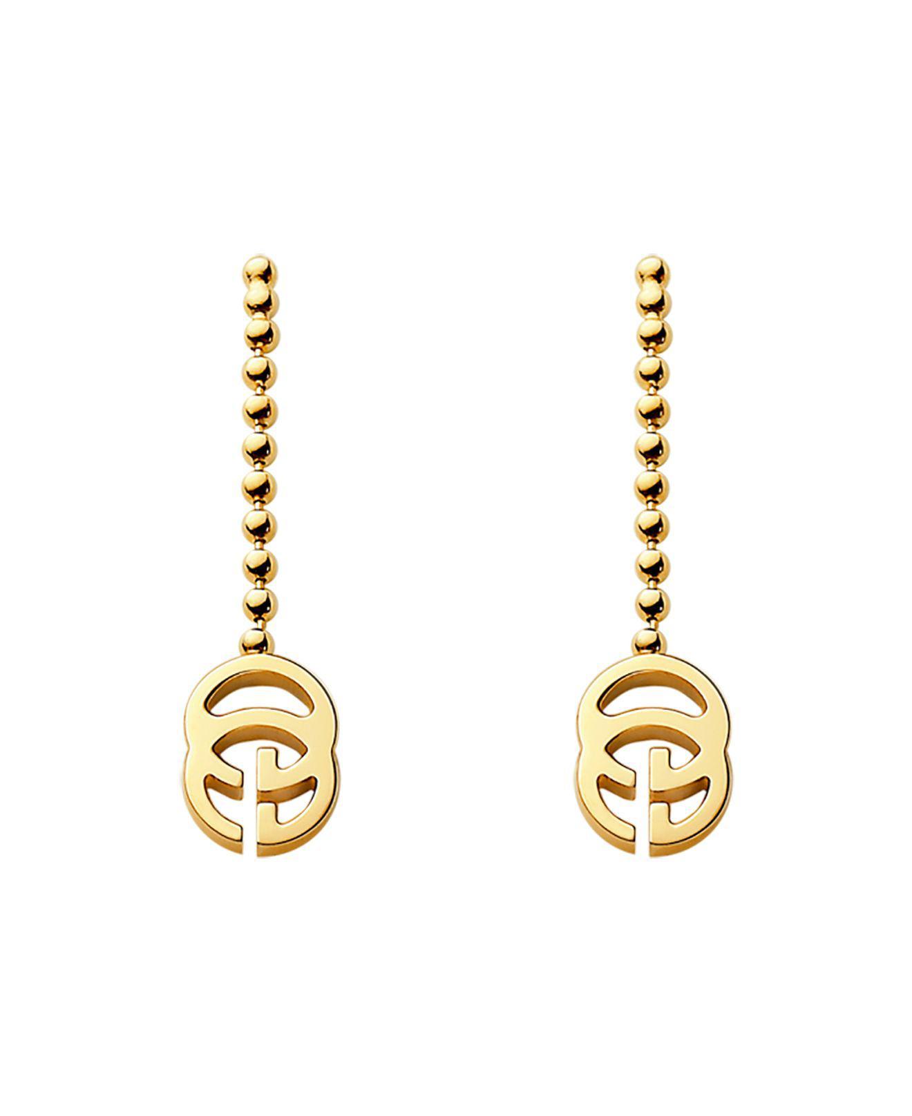 edb6f846edc Lyst - Gucci 18k Yellow Gold Running G Earrings in Metallic
