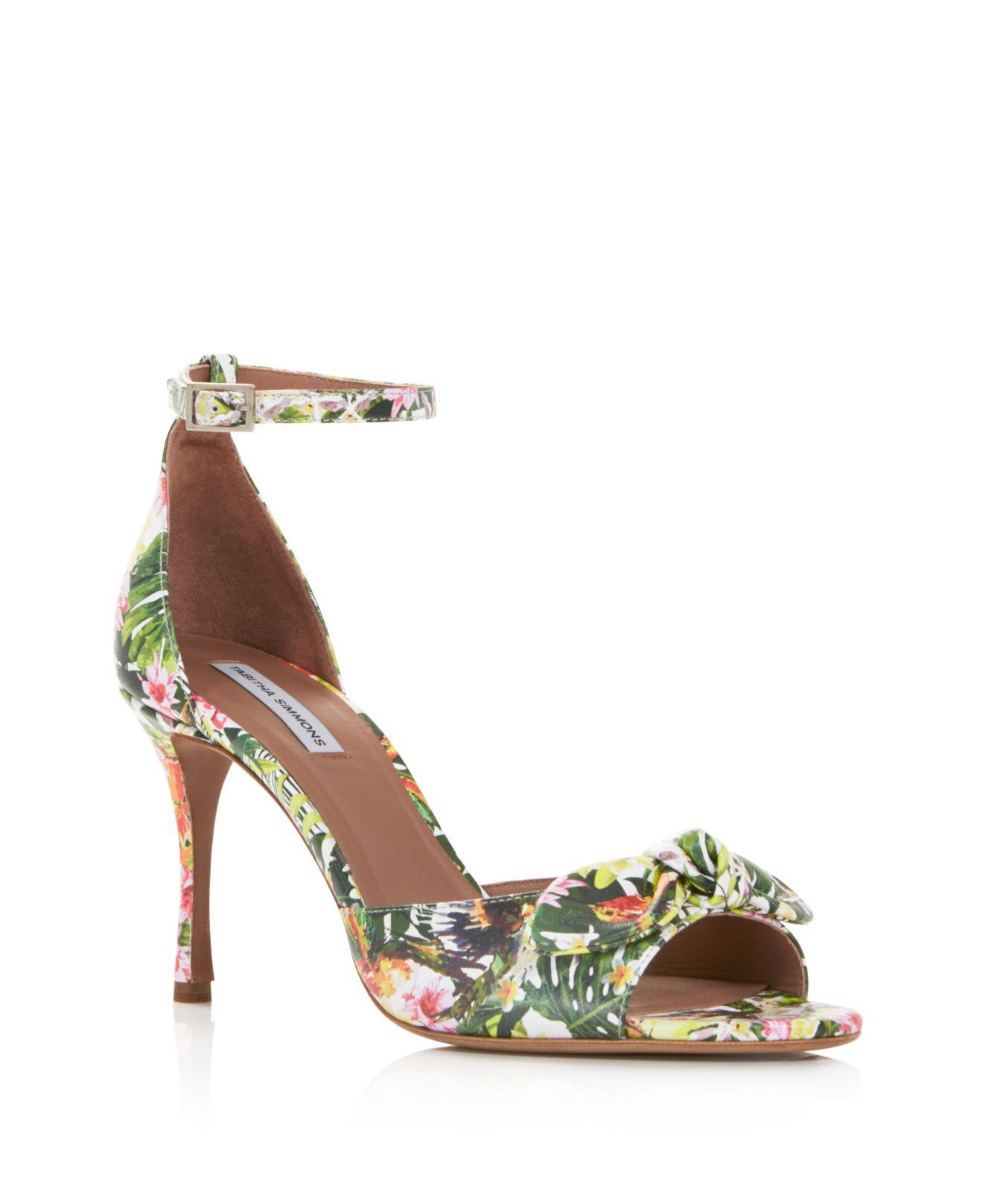 Tabitha Simmons Women's Mimmi Floral Print Leather High-Heel Sandals lX1yRXj