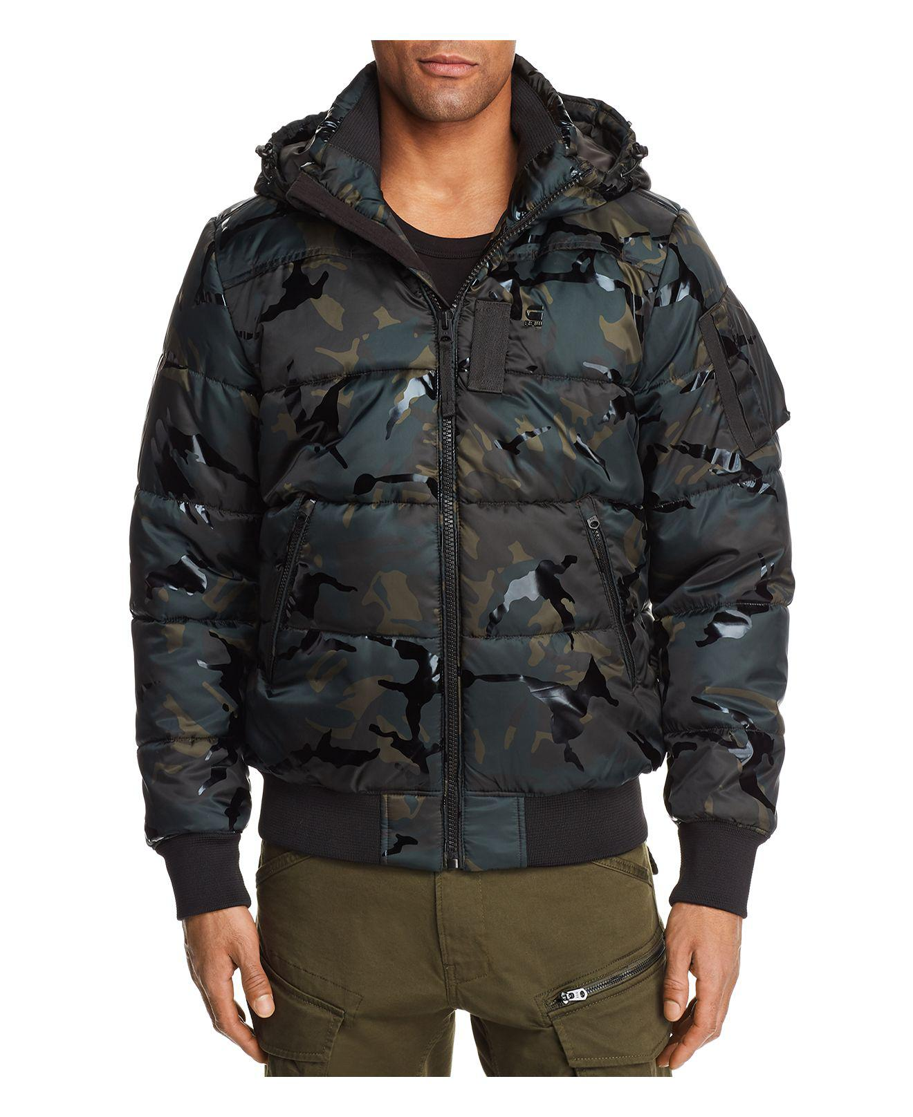 g star raw whisler camouflage hooded bomber jacket in black for men lyst. Black Bedroom Furniture Sets. Home Design Ideas