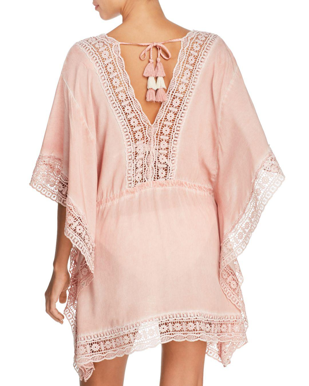 ef35dfd7db6a8 Lyst - Surf Gypsy Embroidered-trim Tunic Swim Cover-up in Pink