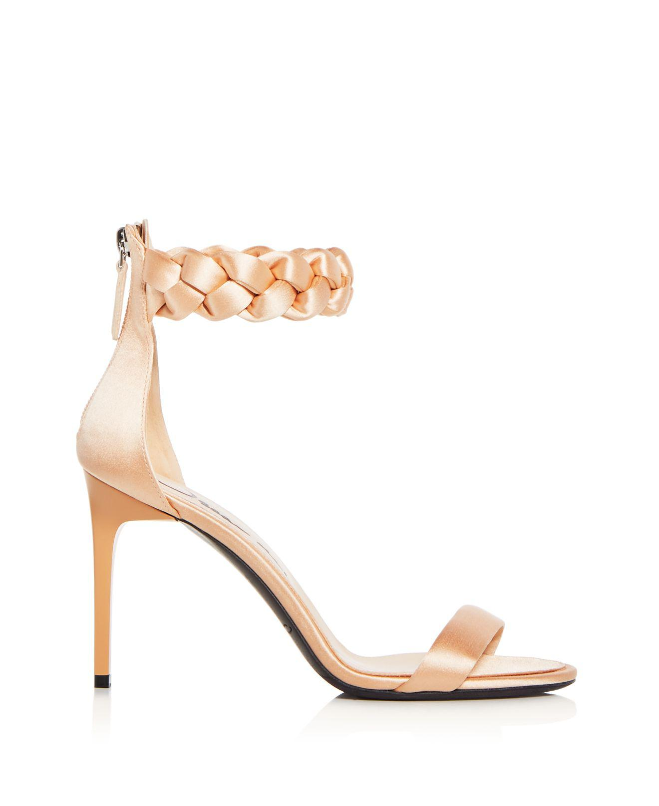 Oscar de la Renta Women's Brigit Braided Satin Ankle Strap High-Heel Sandals UV1RuC7xe