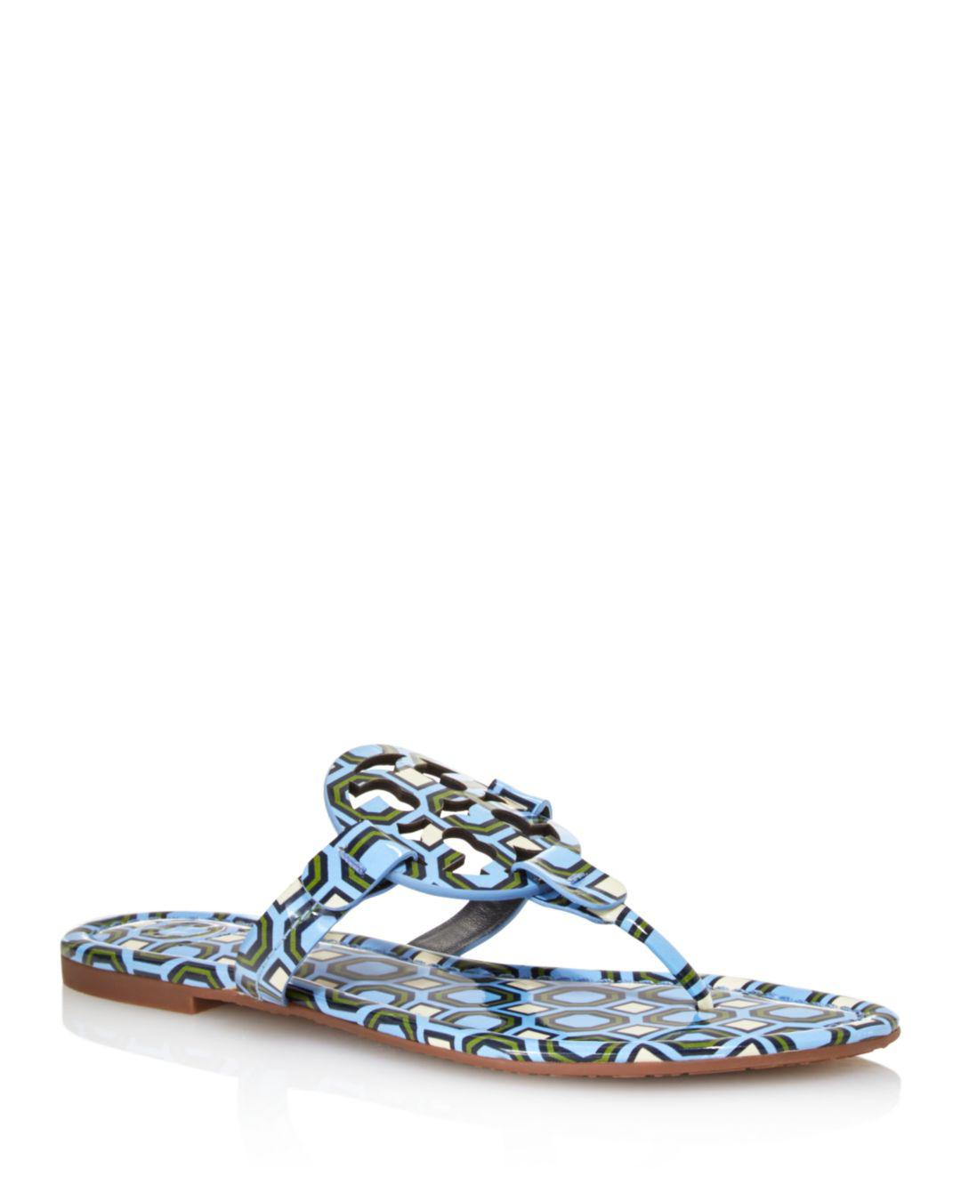 055ee452d Lyst - Tory Burch Women s Miller Patent Leather Thong Sandals in Blue