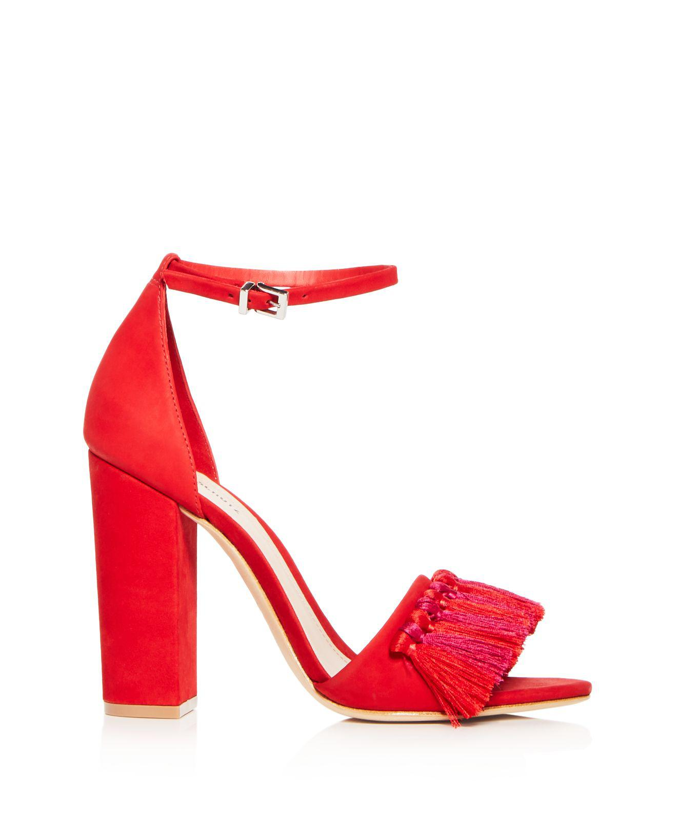 1f4b5417d8 Schutz Women's Detty Suede Tassel High Block Heel Sandals in Red - Lyst