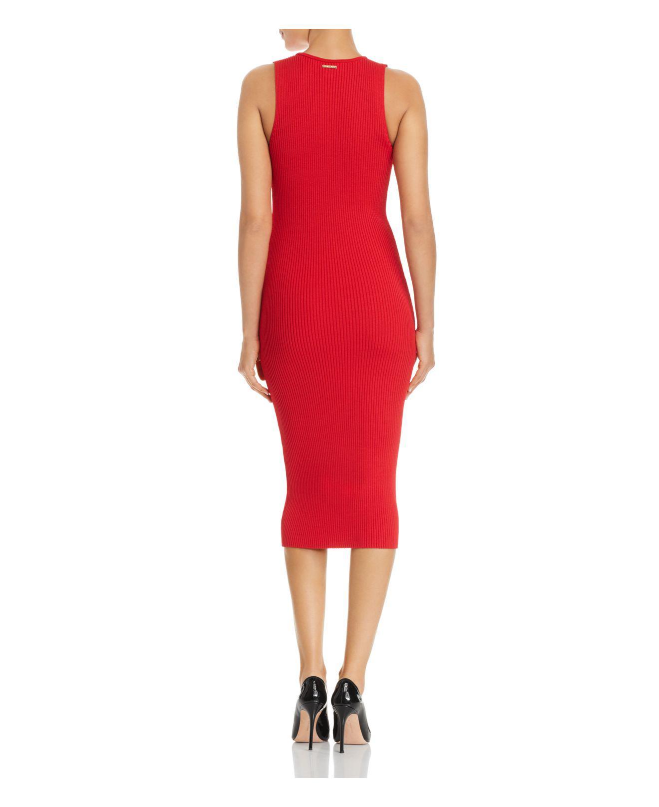 d7cd4babb2 MICHAEL Michael Kors V-neck Rib-knit Sweater Dress in Red - Lyst