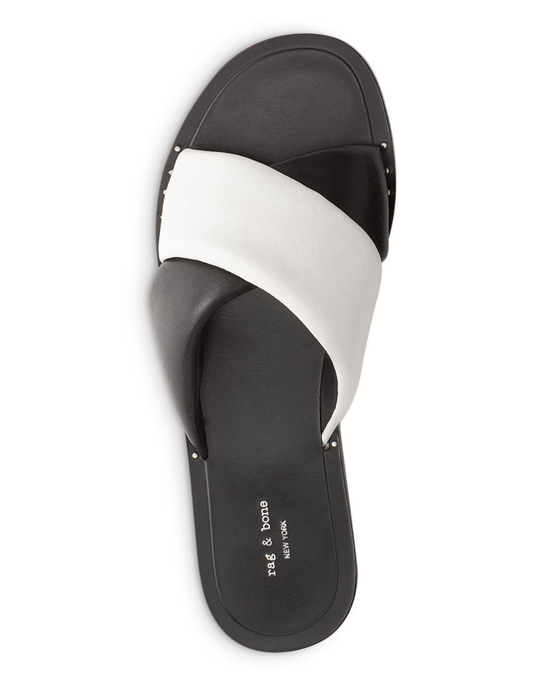18f2e663a7ba Lyst - Rag   Bone Women s Keaton Slide Leather Sandals in Black