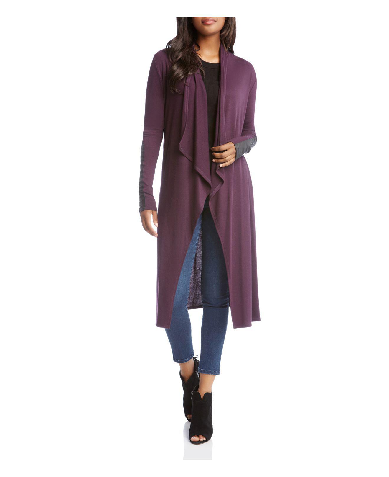 Karen kane Faux Leather Trimmed Duster Cardigan in Purple | Lyst