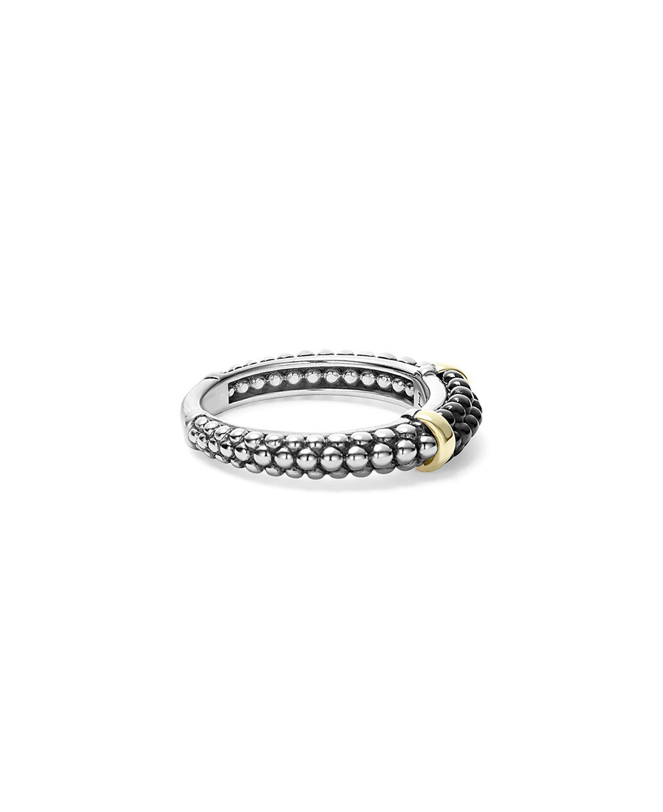 Lagos Caviar Spark Diamond Station Stack Ring 5ecg9FR
