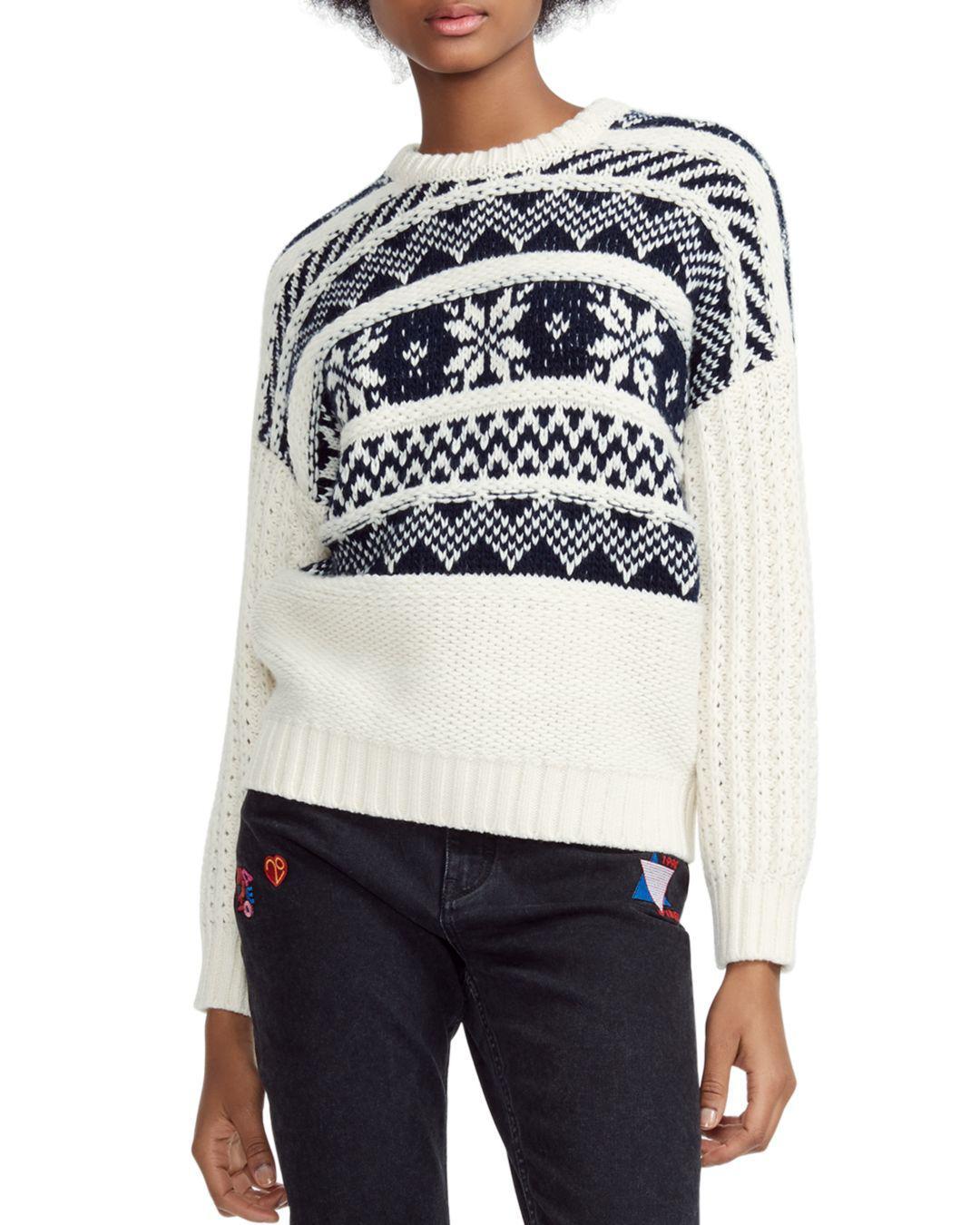 aa21d94d4 Lyst - Maje Mockoon Geo-pattern Sweater in White