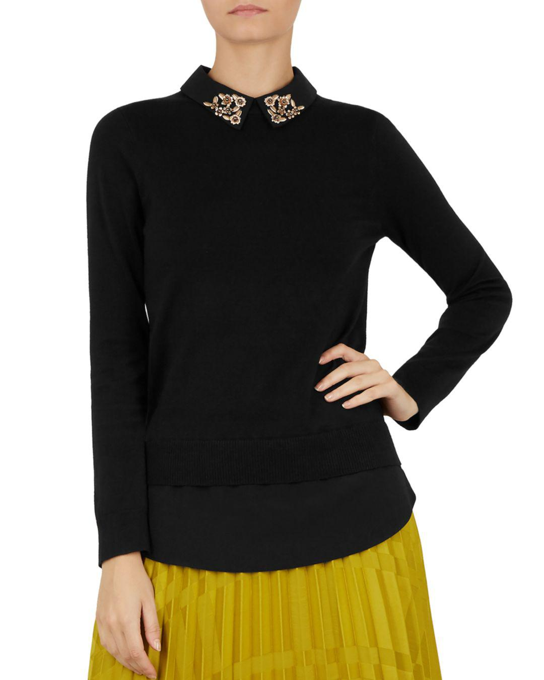 670bda69f31 Lyst - Ted Baker Moliiee Embellished-collar Sweater in Black