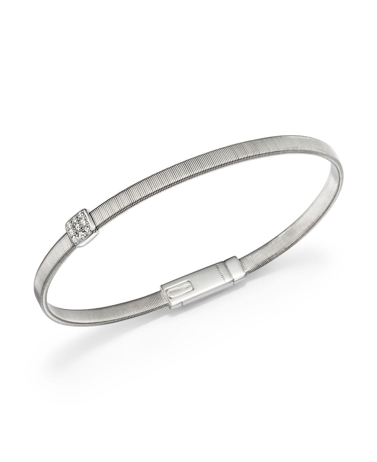 Marco Bicego Masai 18K White Gold Five-Strand Bracelet with Diamond Stations