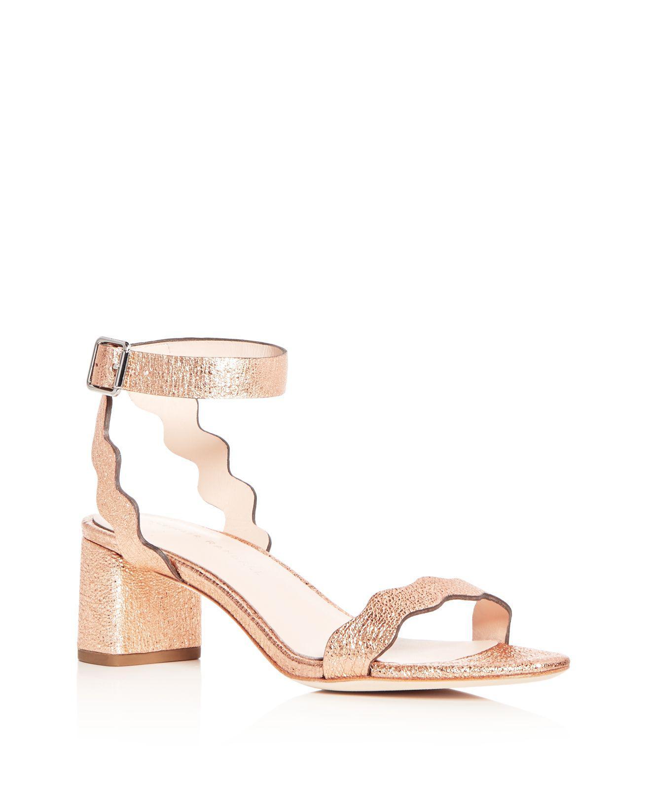 Loeffler Randall Women's Elena Leather T Strap Block Heel Sandals Emkzgllg