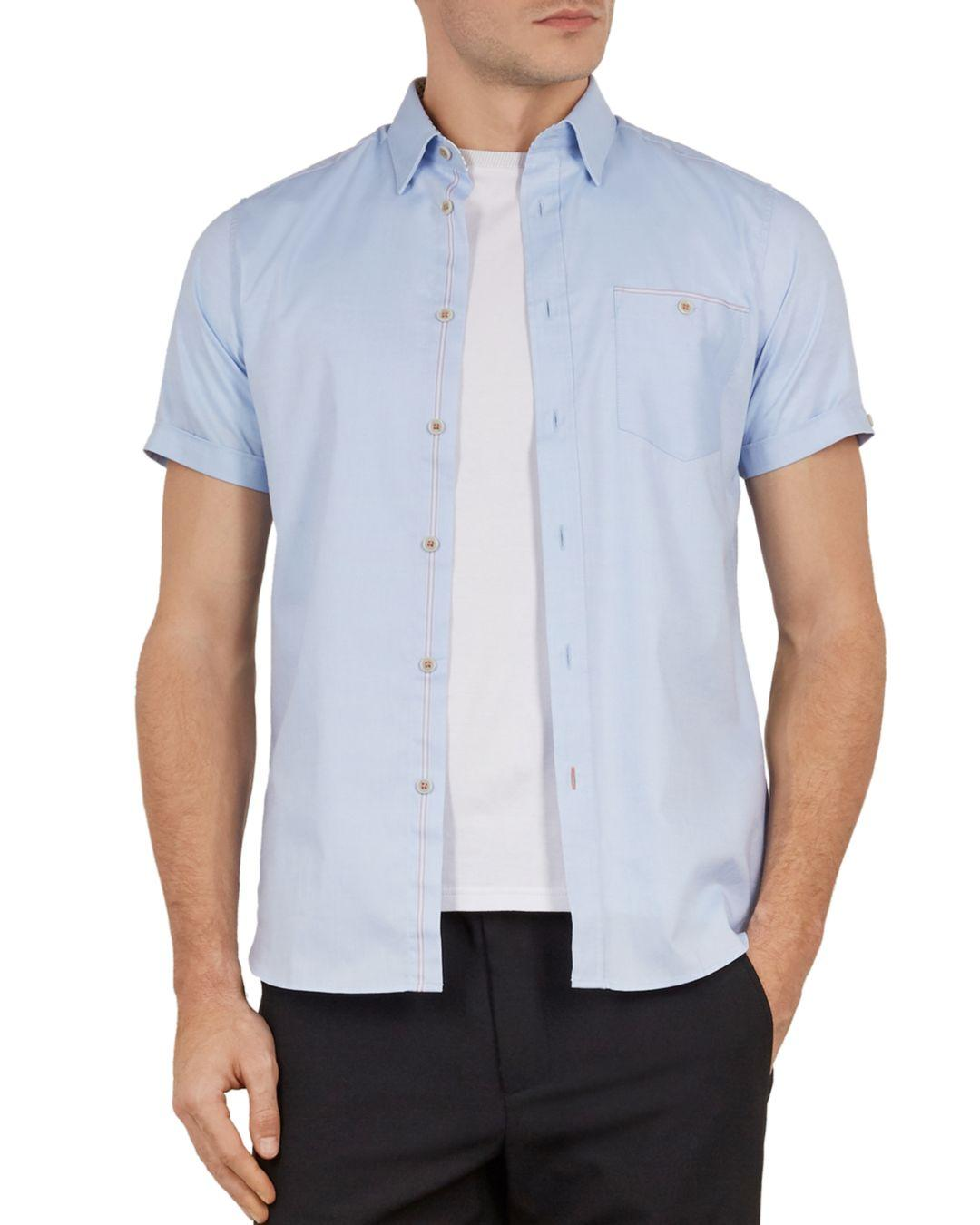 6a4819132 Lyst - Ted Baker Wallabi Slim Fit Oxford Shirt in Blue for Men