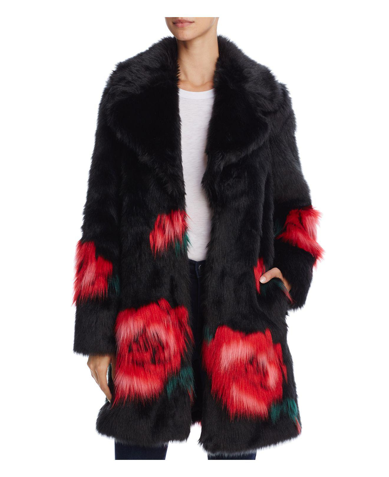 Lyst Guess Melanie Floral Print Faux Fur Coat In Red