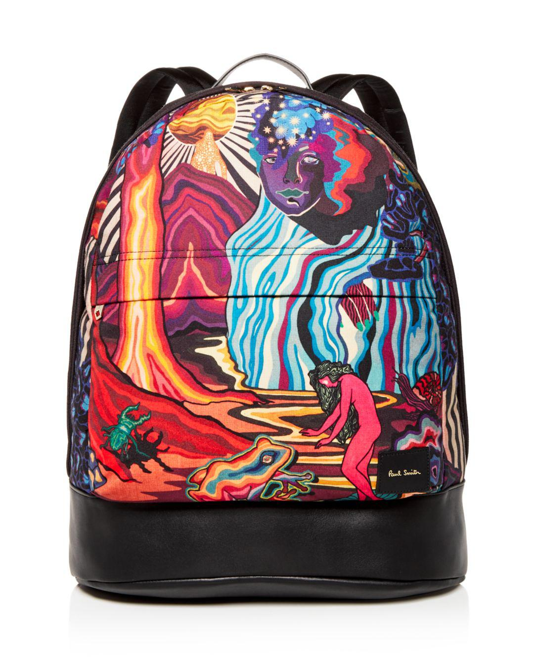 Paul Smith - Black Dreamer Print Leather Backpack for Men - Lyst. View  fullscreen 5ccee47d2
