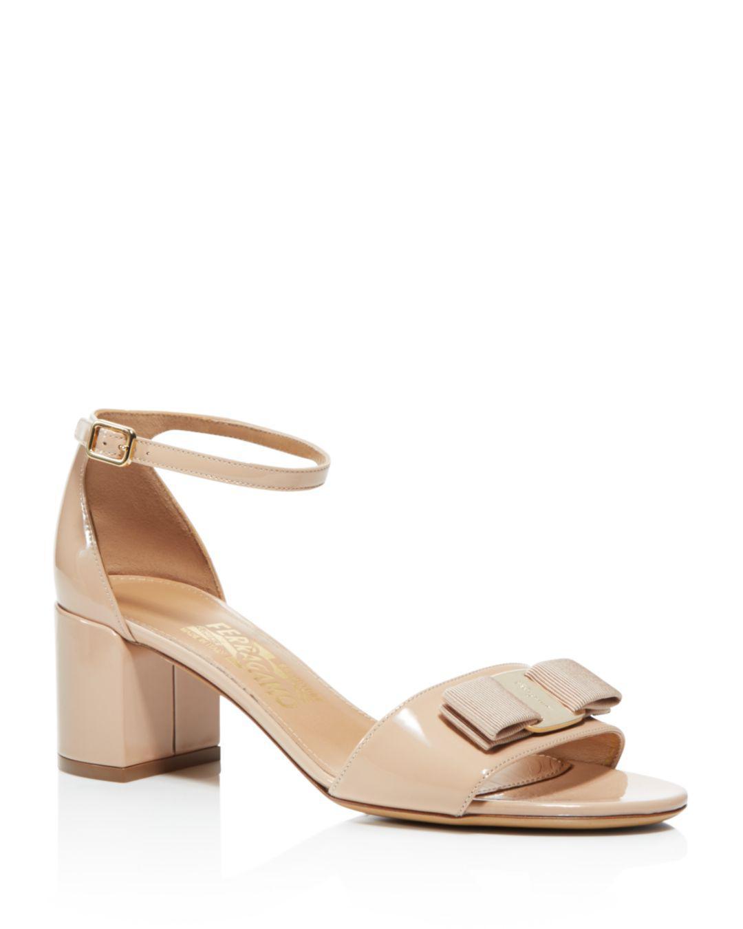 8673f0a1c35 Ferragamo - Natural Women s Gavina Ankle Strap Block Heel Sandals - Lyst.  View fullscreen