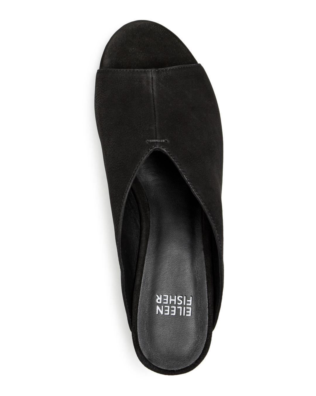 73d85df45acd Lyst - Eileen Fisher Women s Katniss Nubuck Leather Block Heel Slide ...