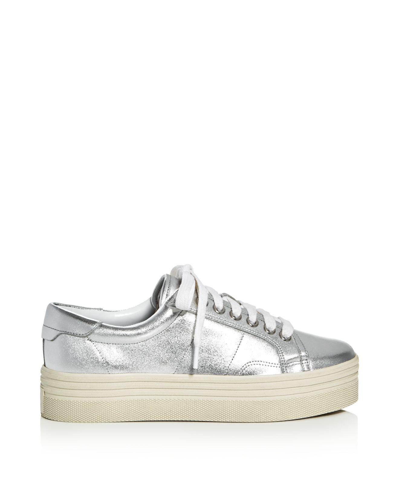 94256e1b7a66 Lyst - Marc Fisher Emmy Metallic Lace Up Platform Sneakers in Metallic
