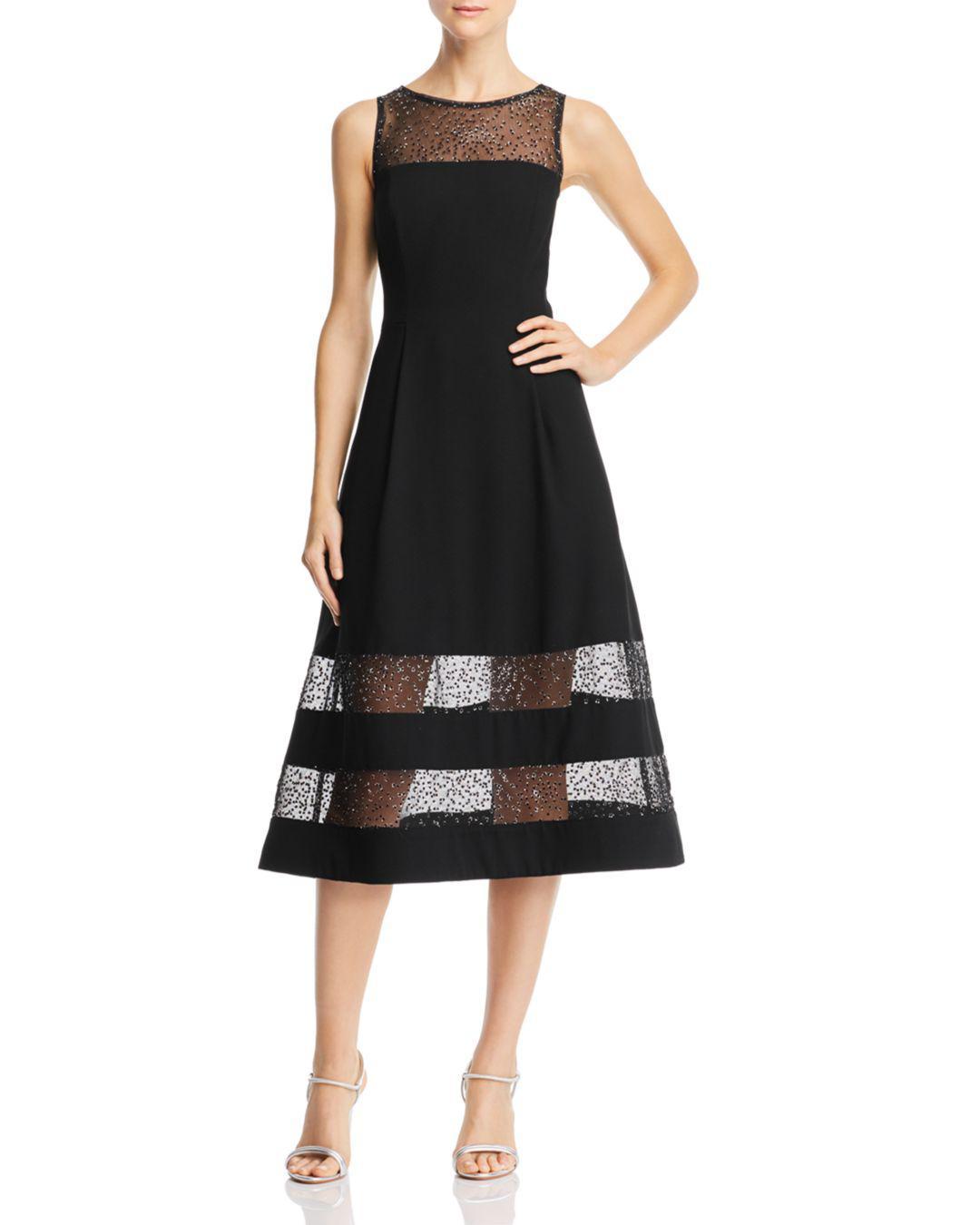 037262f34db Lyst - Aidan By Aidan Mattox Embroidered Crepe Dress in Black - Save ...