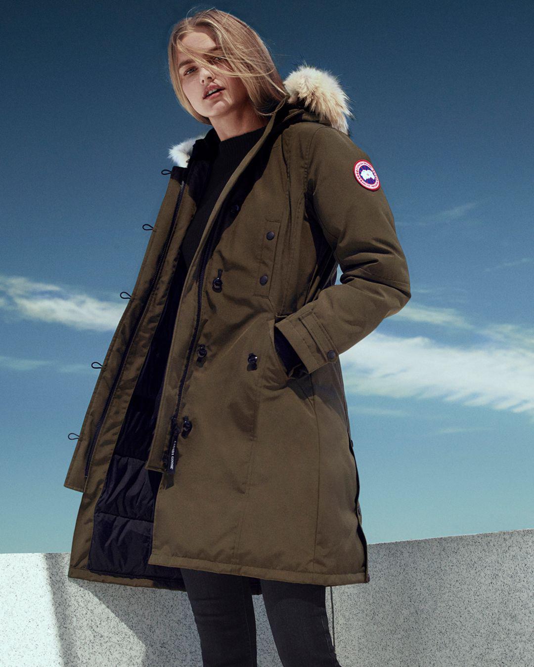 Lyst - Canada Goose Kensington Long Fur-trimmed Down Parka Jacket in Green