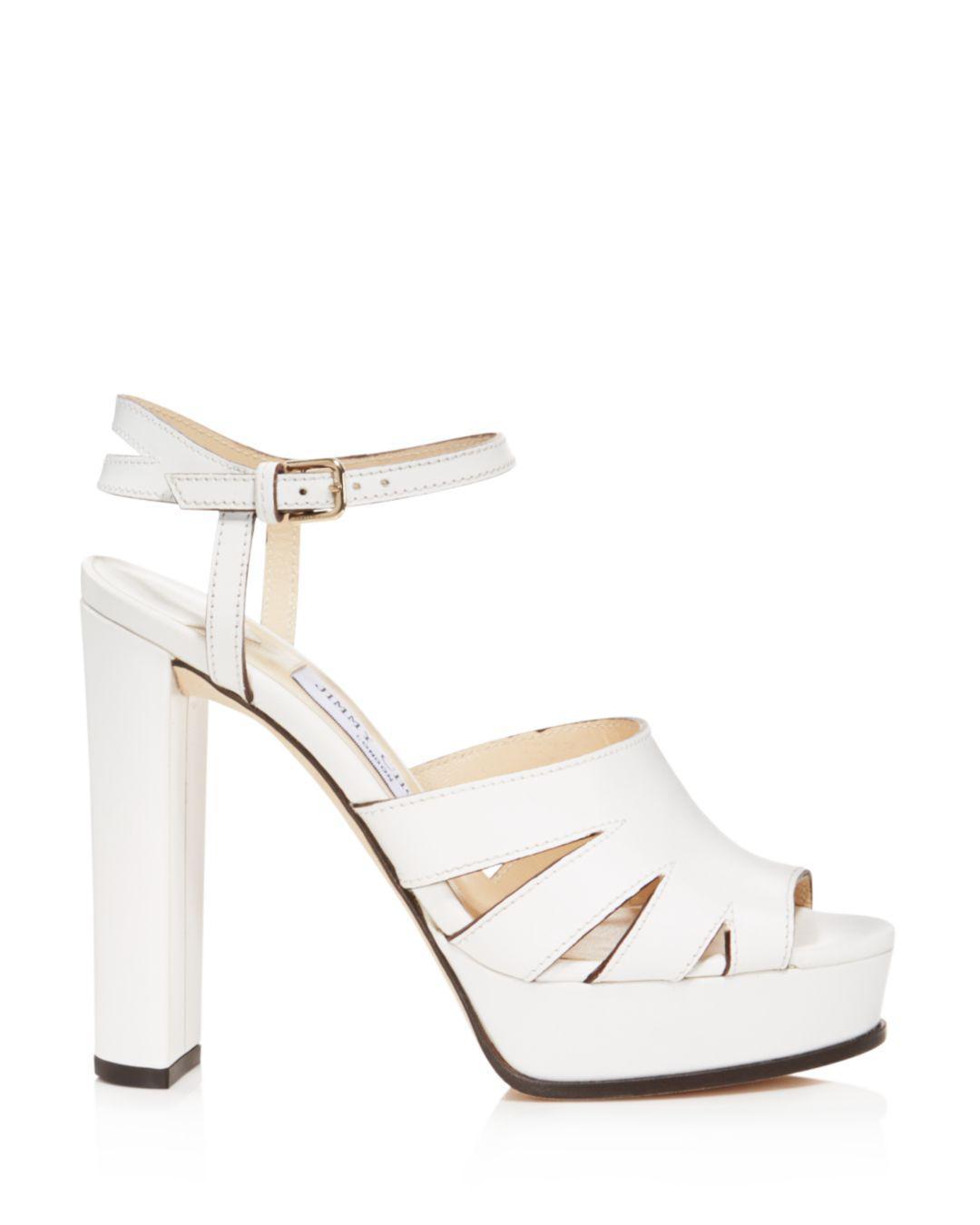 6d06cd2d5a3 Lyst - Jimmy Choo Women s Hermione 120 Leather Platform High-heel Sandals -  Save 60%