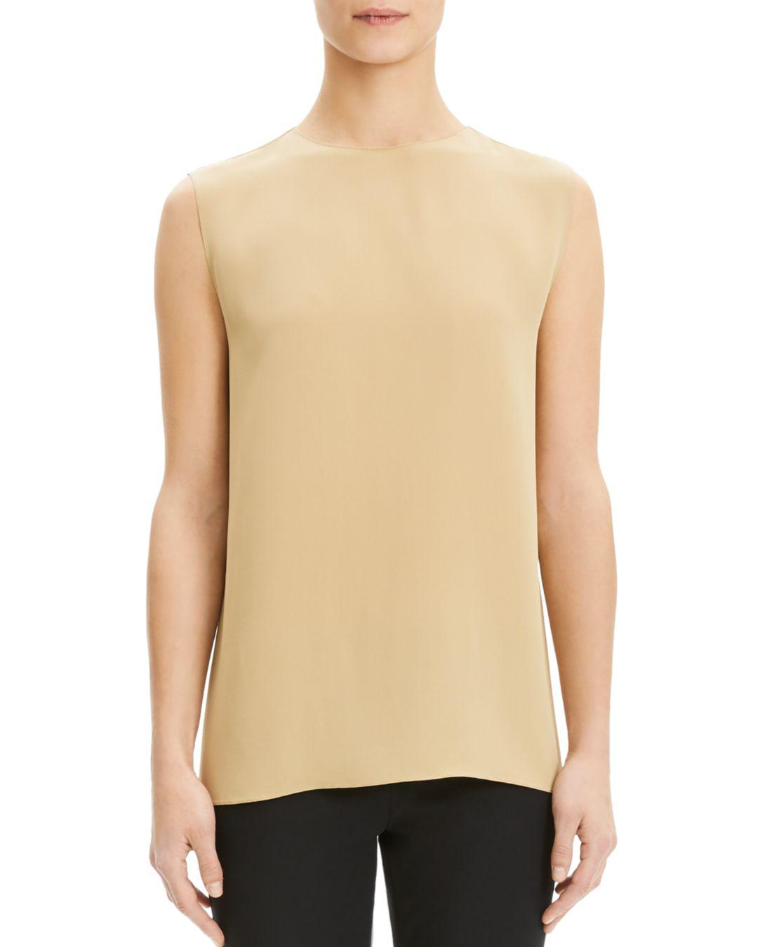 fce982deb75f9 Lyst - Theory Sleeveless Silk Top in Natural