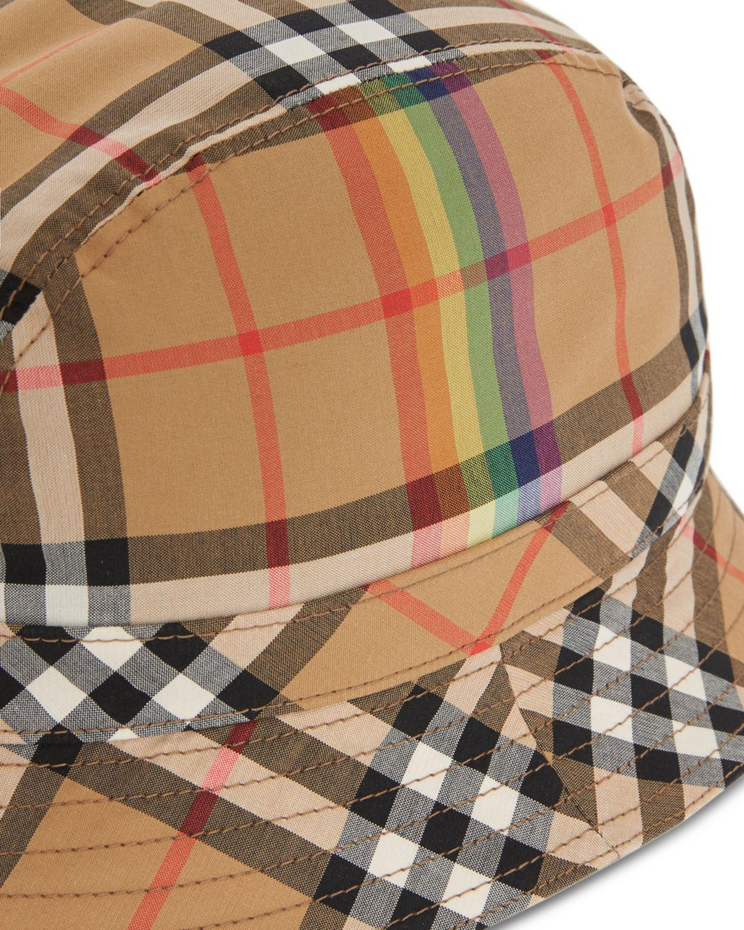 Lyst - Burberry Rainbow Check Bucket Hat 1bfe4e99f99f