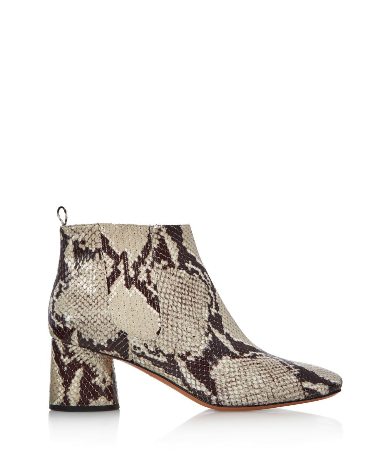 Marc Jacobs Women's Rocket Snake-Embossed Leather Round Block Heel Chelsea Booties lUlLd