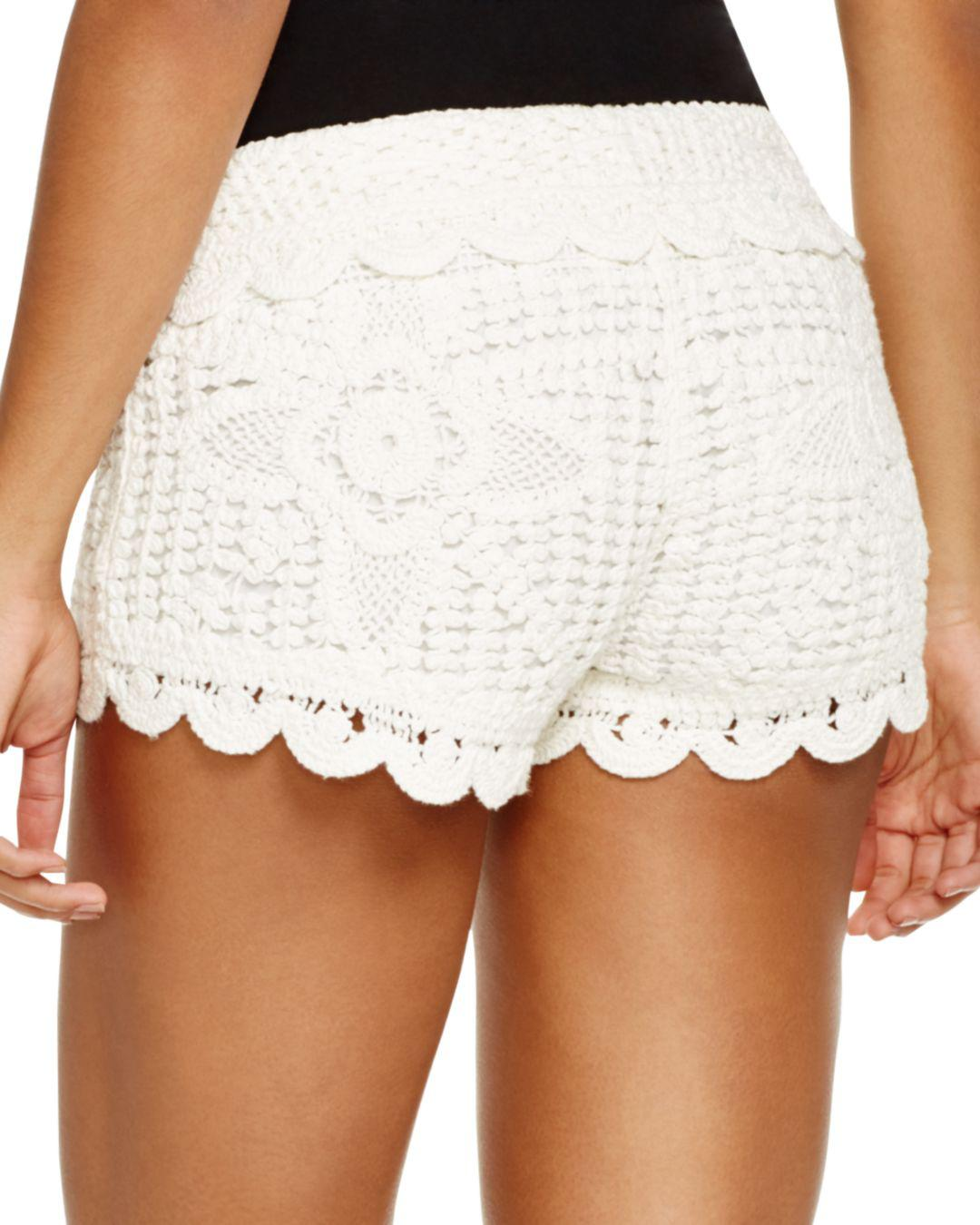 46250d50f429d Surf Gypsy Crochet Swim Cover-up Shorts in White - Lyst